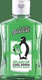 La loción mentolada salpicante de Alcolado Glacial, con un 76% de alcohol.