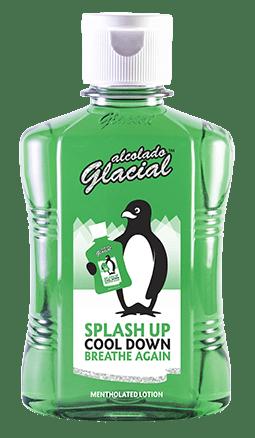De Alcolado Glacial splash mentholated lotion, met 76% alcohol.