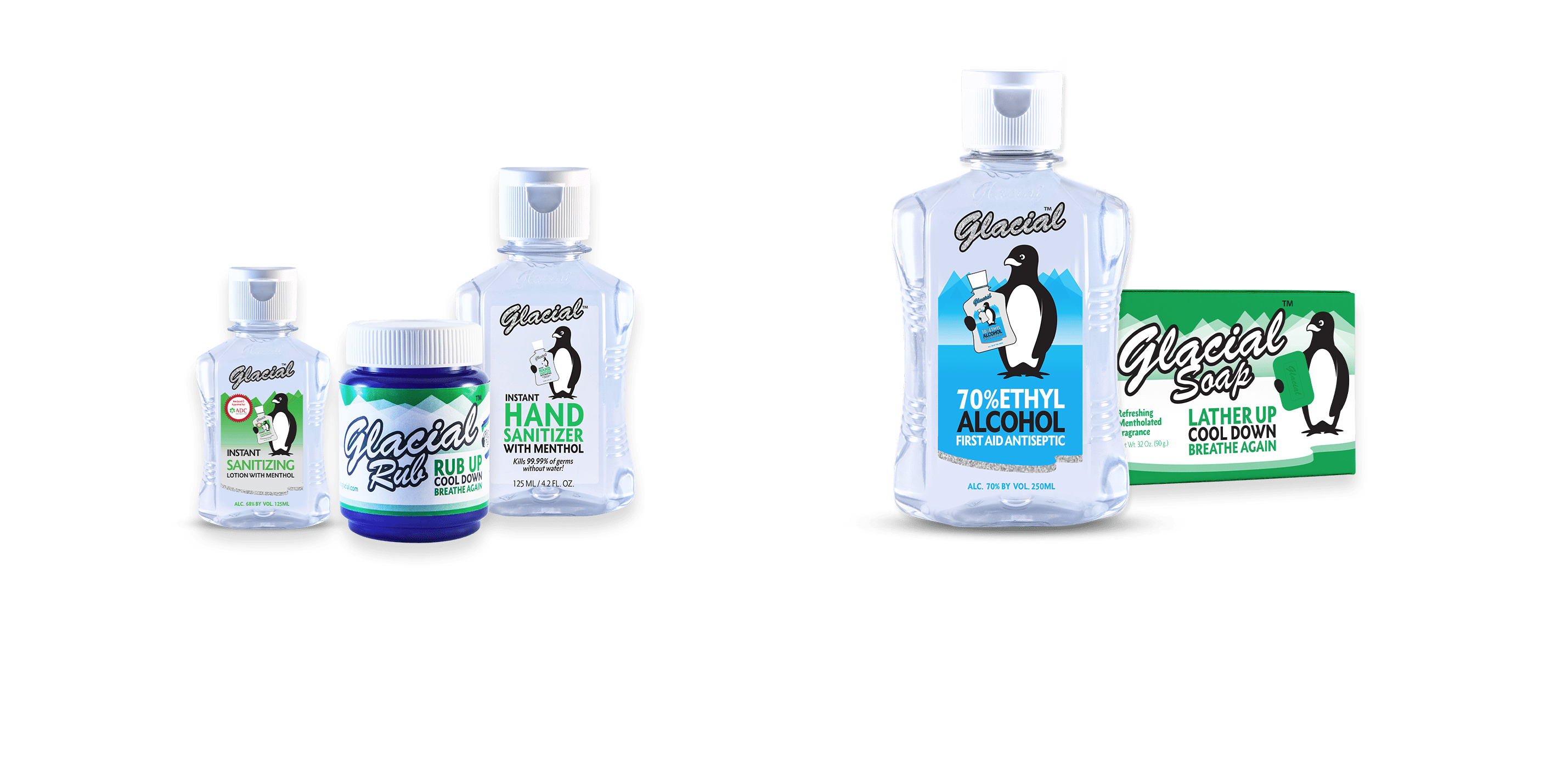 The different Glacial products to refresh, relieve and repower.