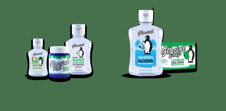 De verschillende Glacial producten om te verfrissen, te ontlasten en op kracht komen.
