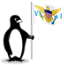 The Glacial penguin holding the flag of St. Croix.